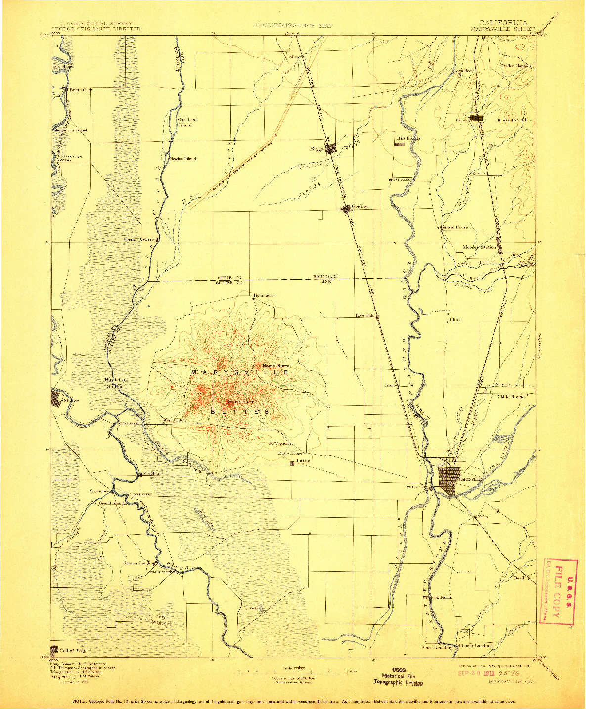 USGS 1:125000-SCALE QUADRANGLE FOR MARYSVILLE, CA 1895