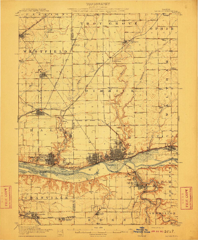 USGS 1:62500-SCALE QUADRANGLE FOR LA SALLE, IL 1911