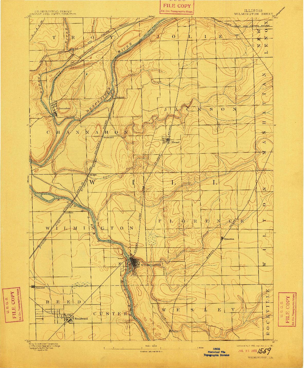 USGS 1:62500-SCALE QUADRANGLE FOR WILMINGTON, IL 1892