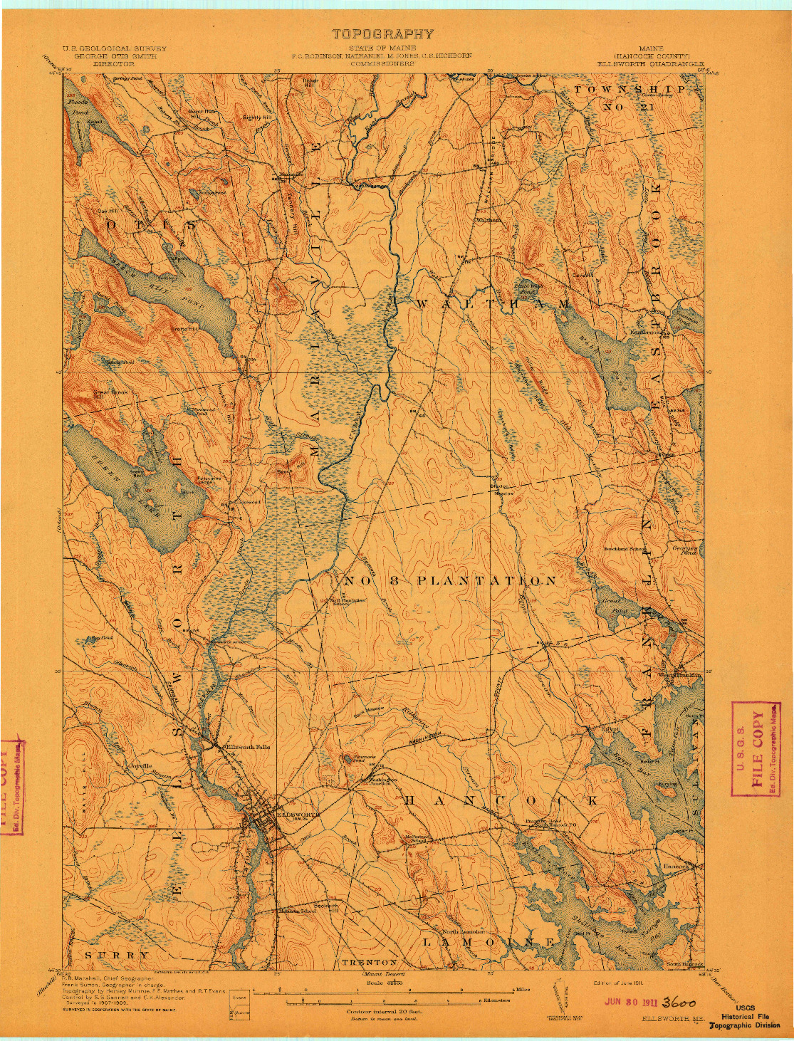 USGS 1:62500-SCALE QUADRANGLE FOR ELLSWORTH, ME 1911