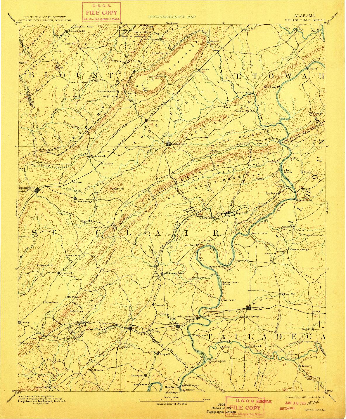 USGS 1:125000-SCALE QUADRANGLE FOR SPRINGVILLE, AL 1892