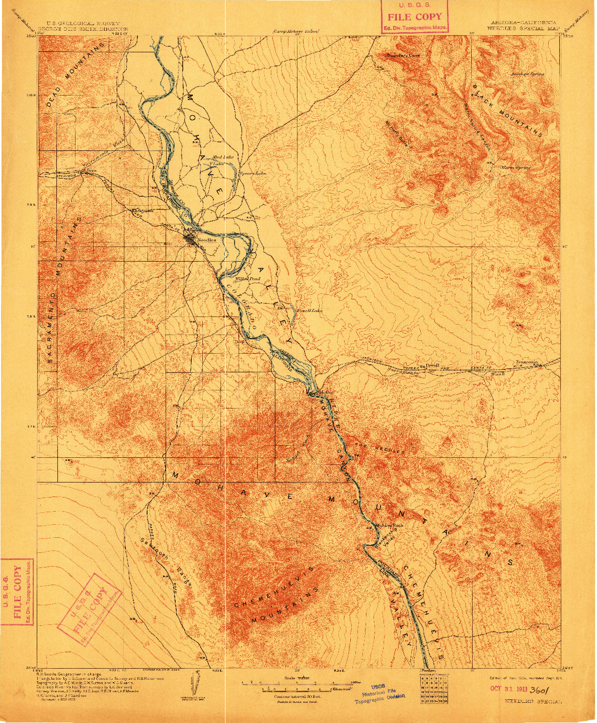 USGS 1:125000-SCALE QUADRANGLE FOR NEEDLES SPECIAL, AZ 1904