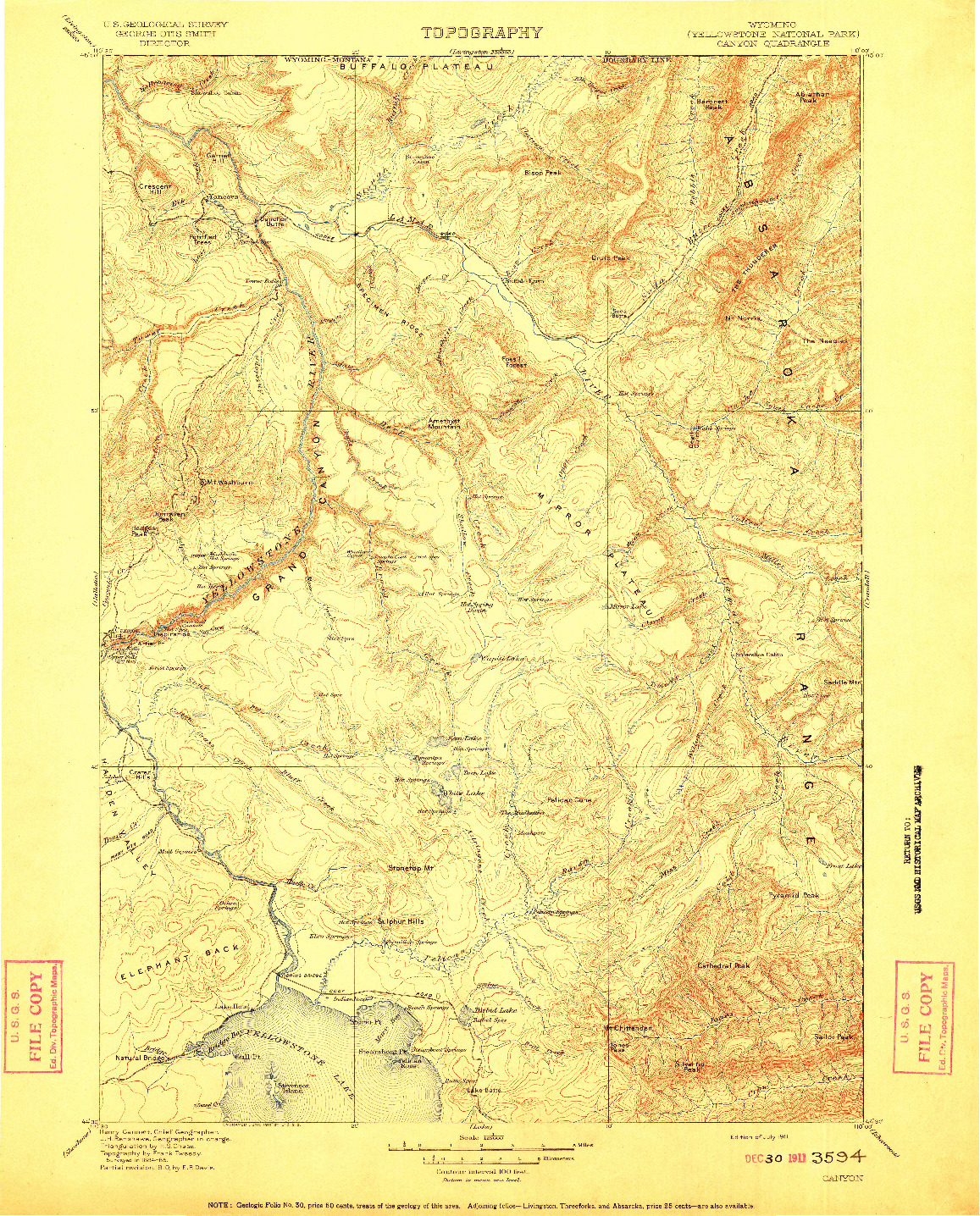 USGS 1:125000-SCALE QUADRANGLE FOR CANYON, WY 1911