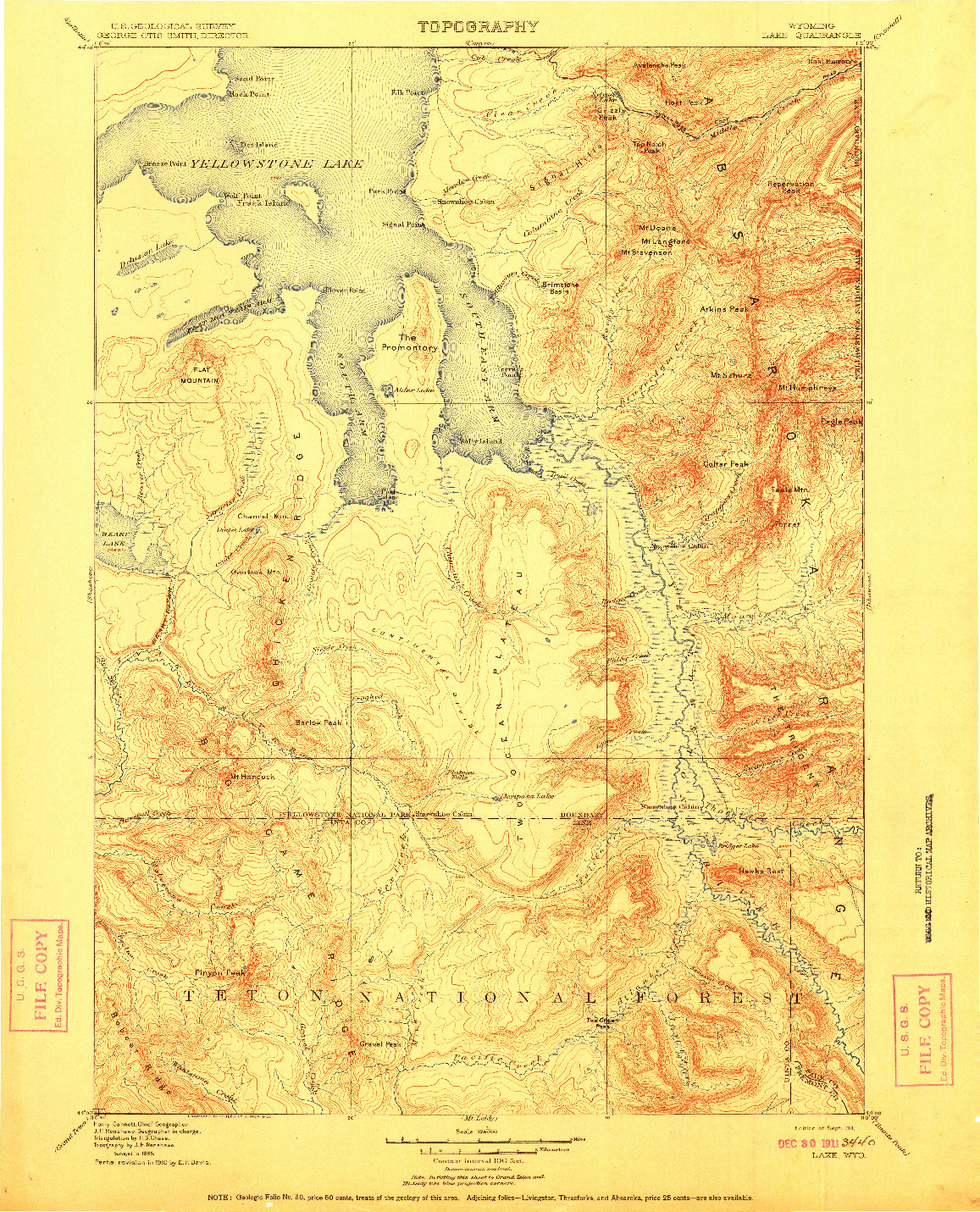 USGS 1:125000-SCALE QUADRANGLE FOR LAKE, WY 1911