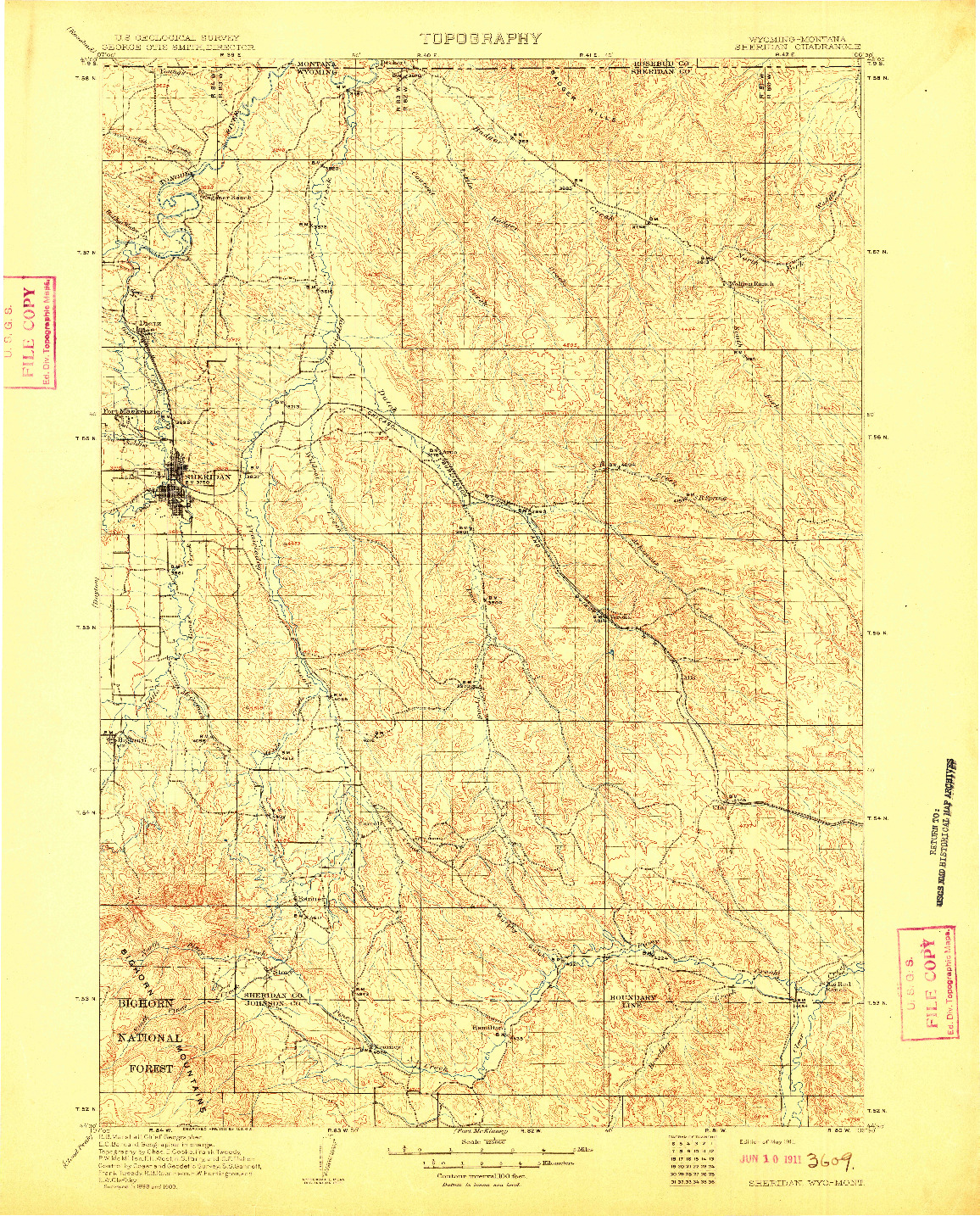 USGS 1:125000-SCALE QUADRANGLE FOR SHERIDAN, WY 1911