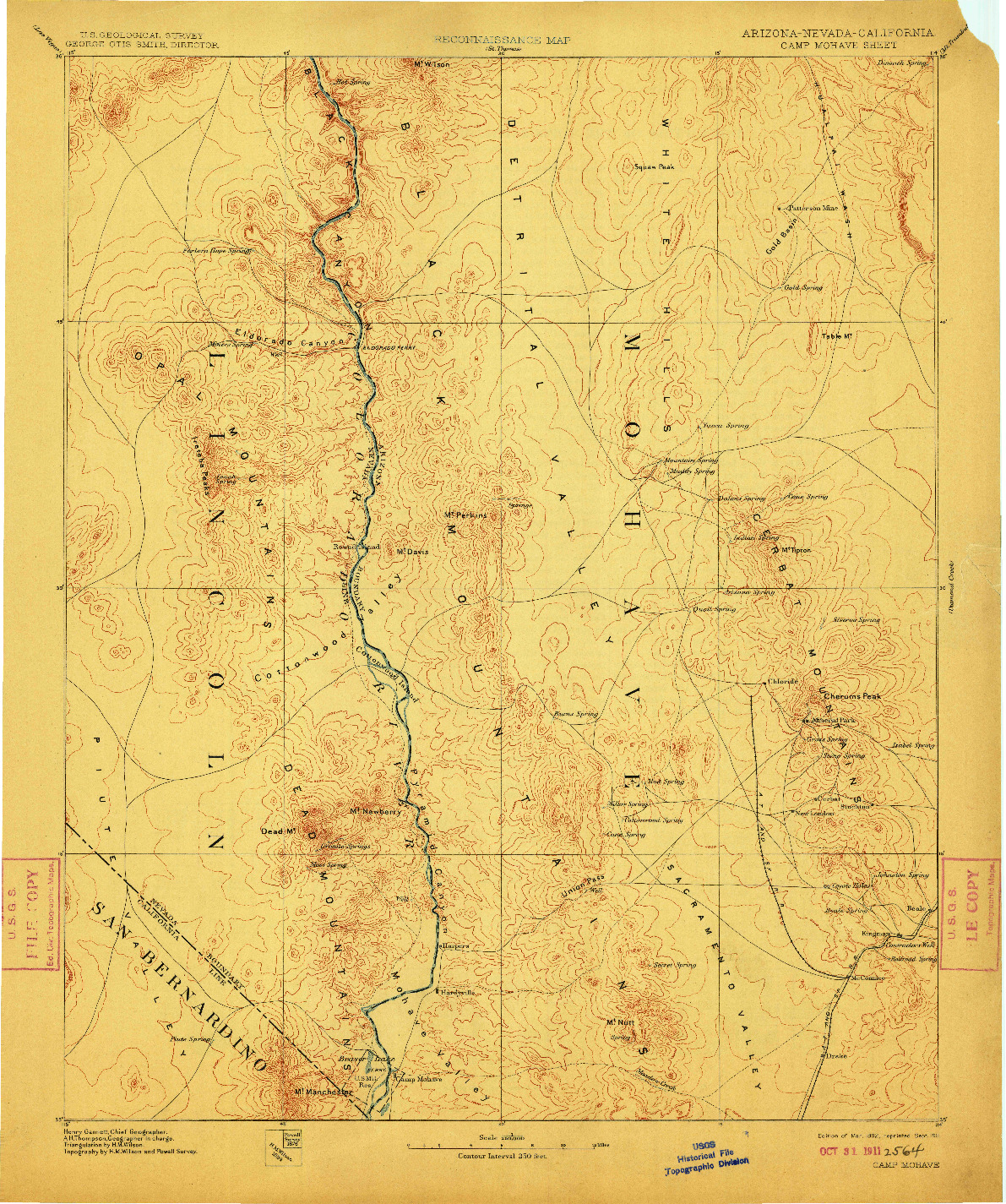 USGS 1:250000-SCALE QUADRANGLE FOR CAMP MOHAVE, AZ 1892