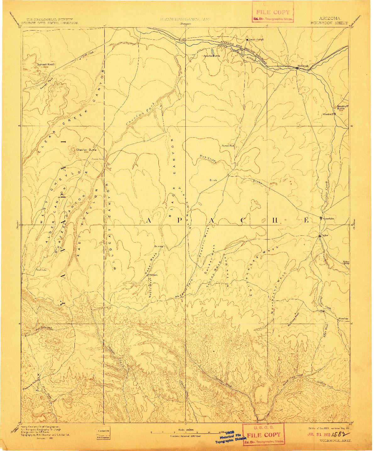 USGS 1:250000-SCALE QUADRANGLE FOR HOLBROOK, AZ 1893