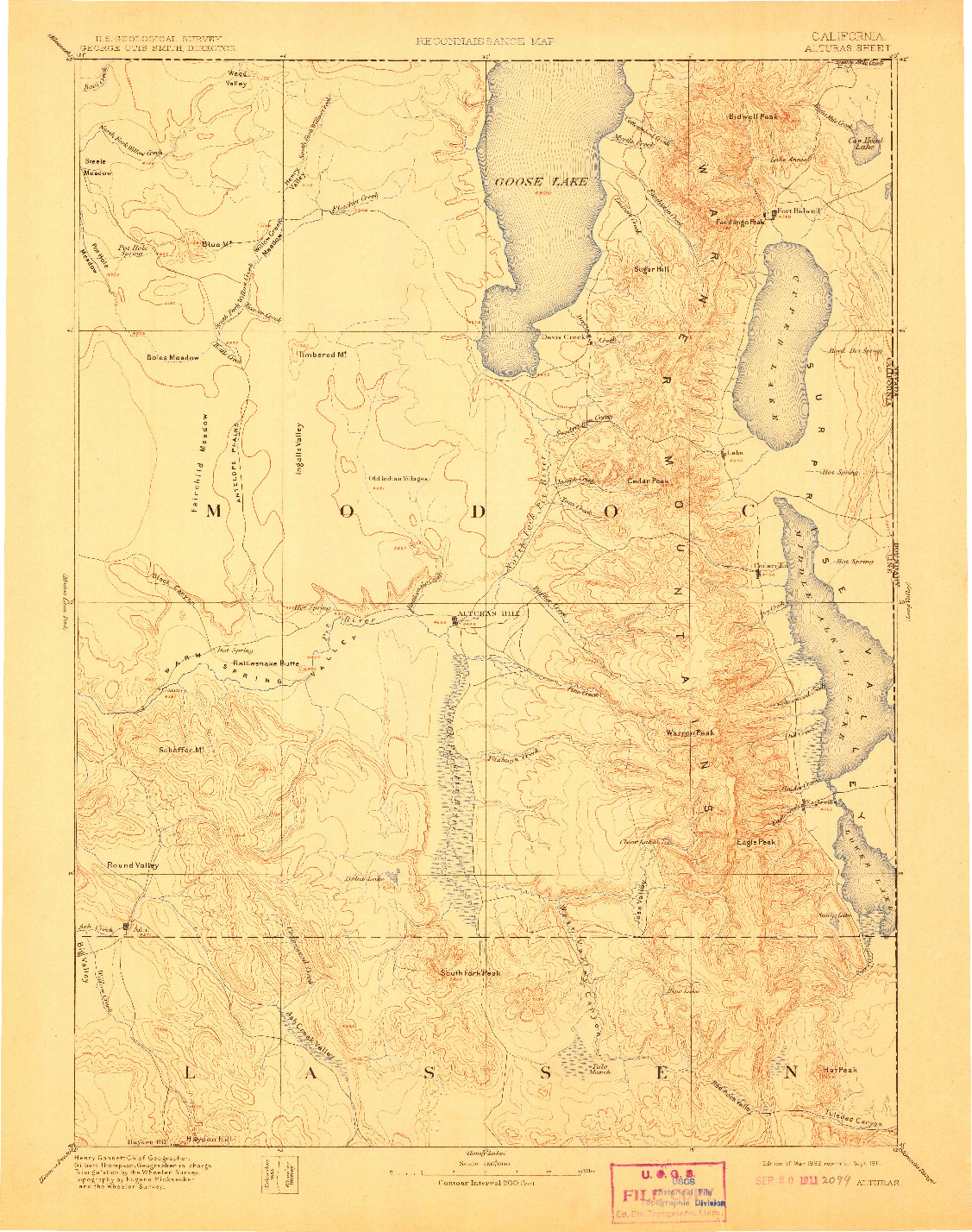 USGS 1:250000-SCALE QUADRANGLE FOR ALTURAS, CA 1892