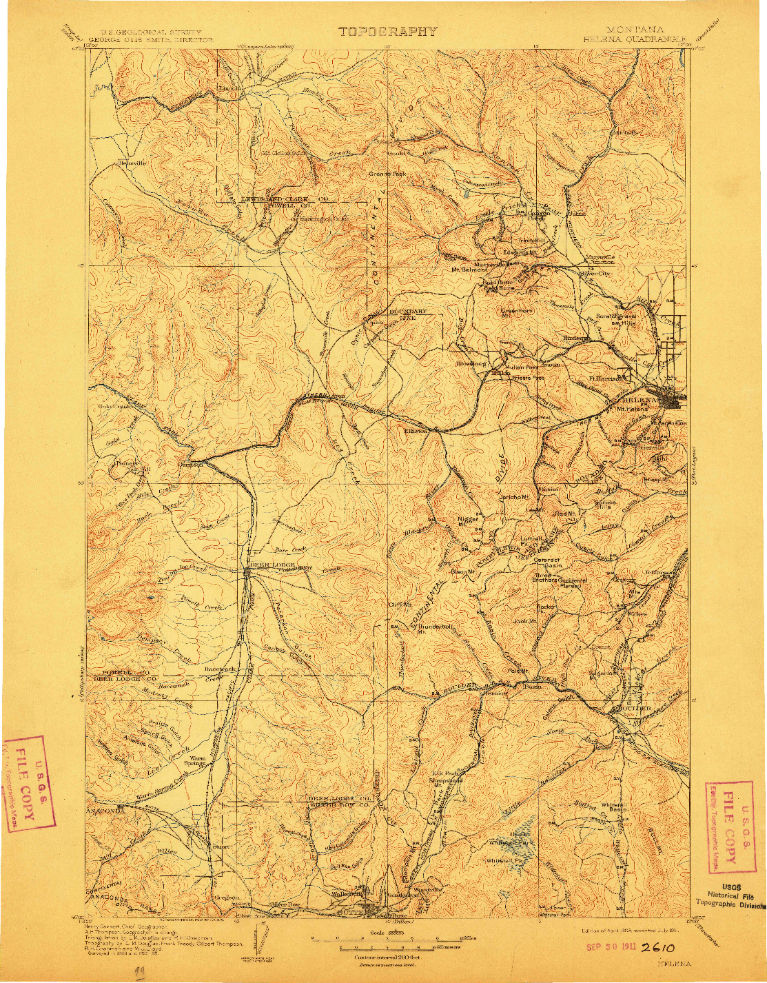 USGS 1:250000-SCALE QUADRANGLE FOR HELENA, MT 1903