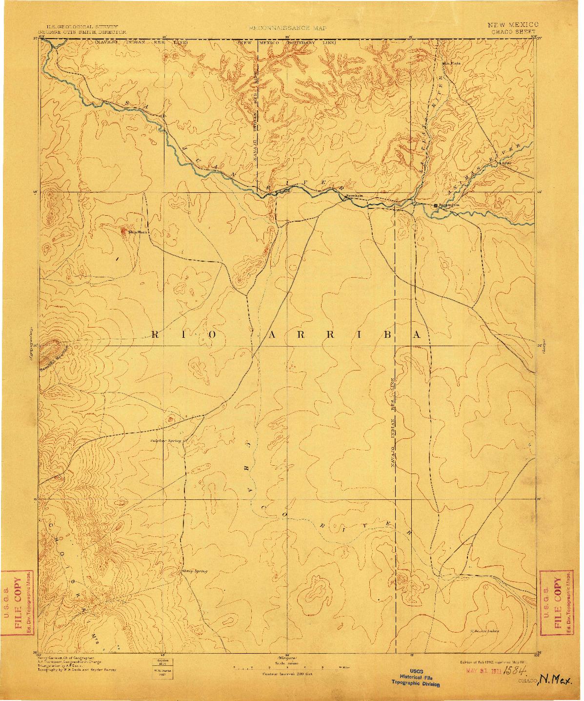 USGS 1:250000-SCALE QUADRANGLE FOR CHACO, NM 1892