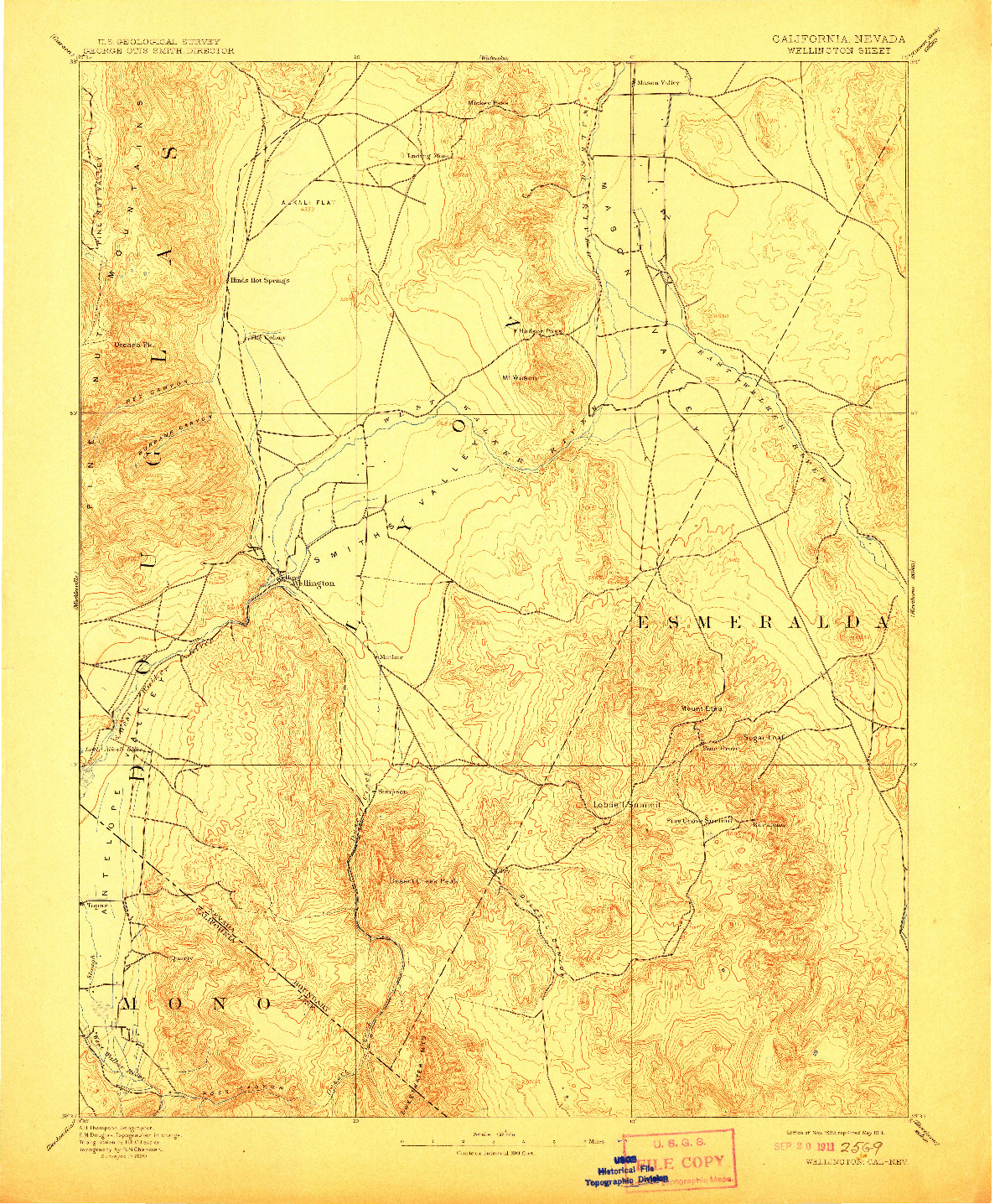 USGS 1:125000-SCALE QUADRANGLE FOR WELLINGTON, CA 1893
