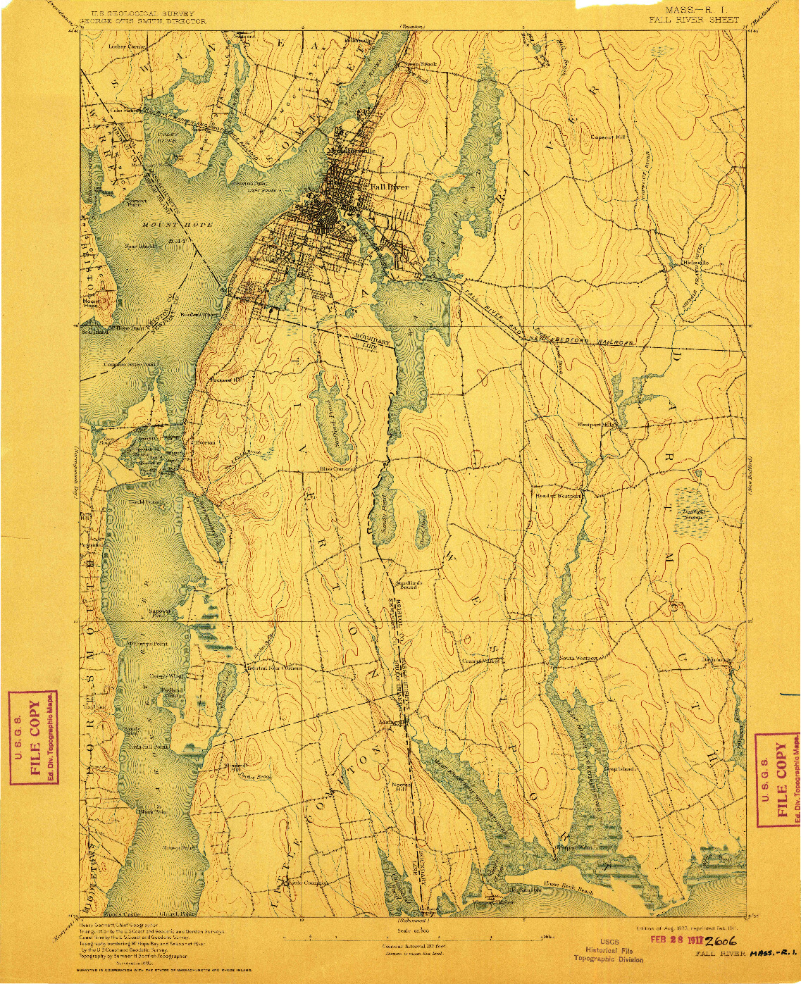 USGS 1:62500-SCALE QUADRANGLE FOR FALL RIVER, MA 1893