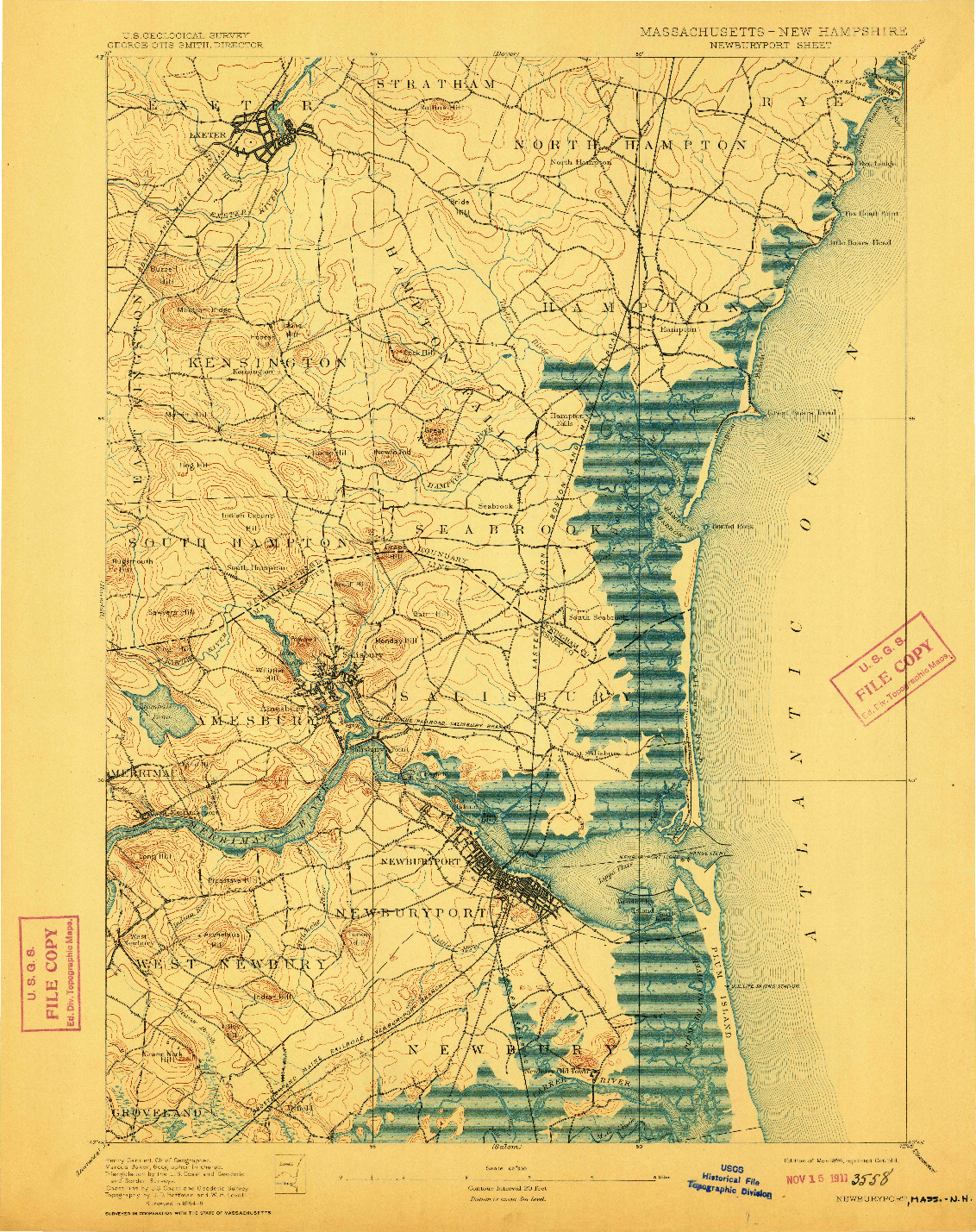 USGS 1:62500-SCALE QUADRANGLE FOR NEWBURYPORT, MA 1894