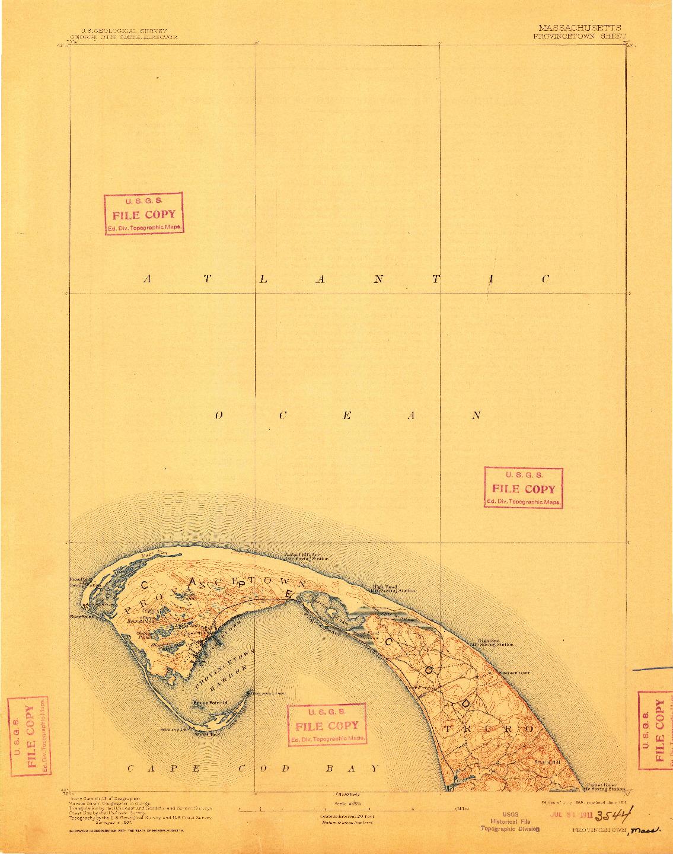 USGS 1:62500-SCALE QUADRANGLE FOR PROVINCETOWN, MA 1889