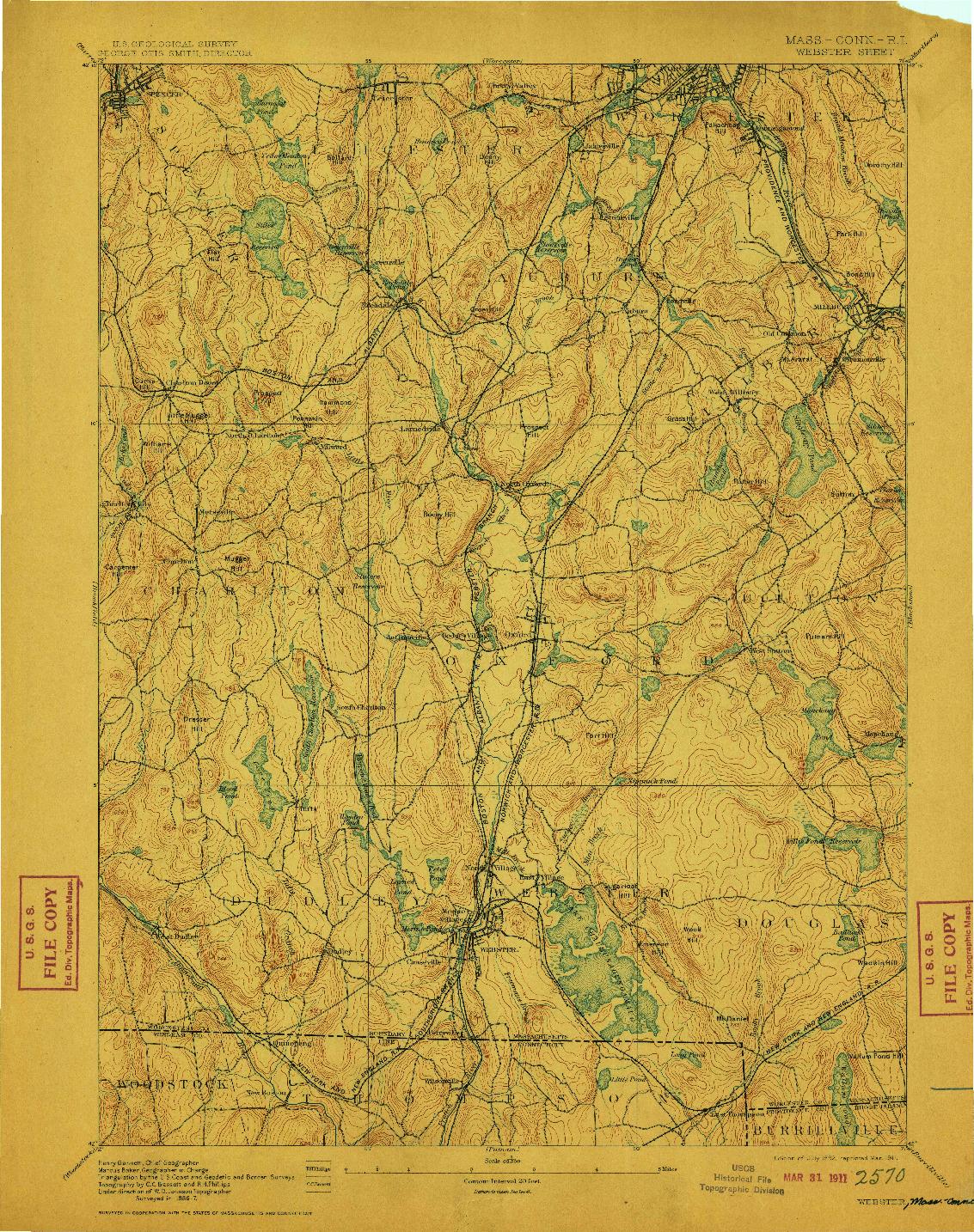USGS 1:62500-SCALE QUADRANGLE FOR WEBSTER, MA 1892