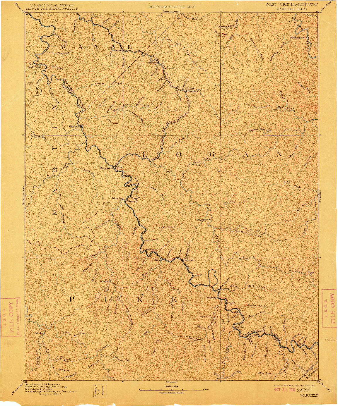 USGS 1:125000-SCALE QUADRANGLE FOR WARFIELD, WV 1891