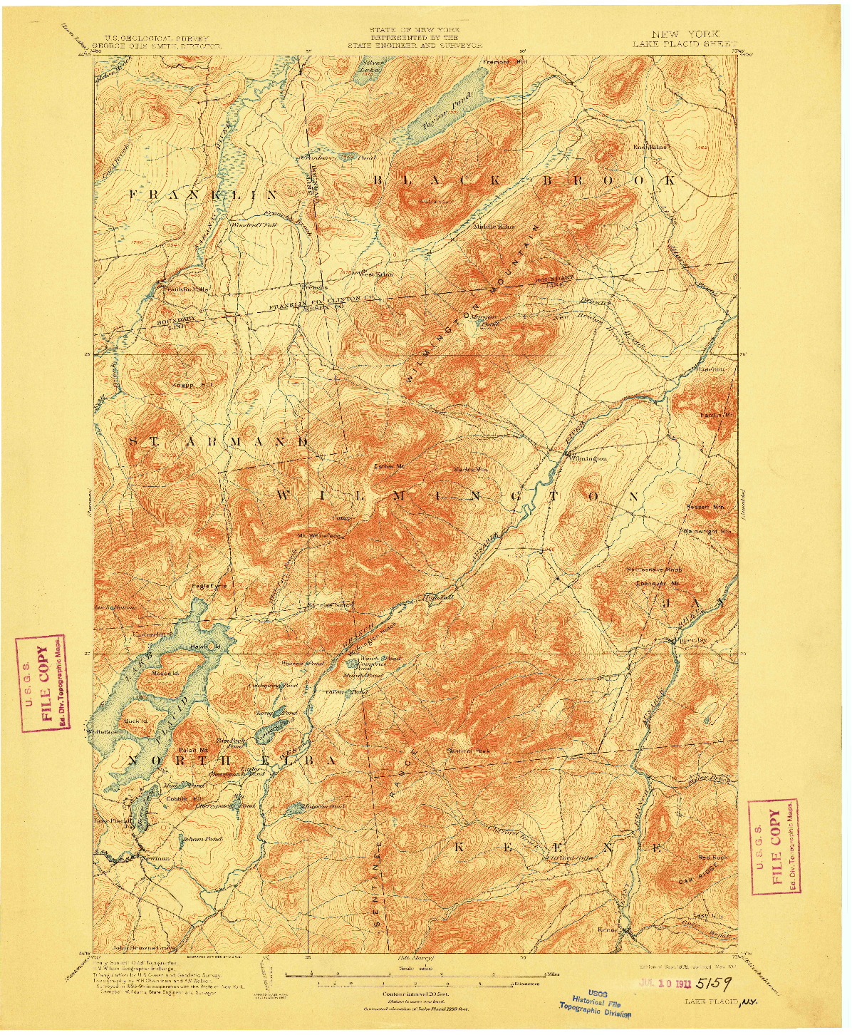 USGS 1:62500-SCALE QUADRANGLE FOR LAKE PLACID, NY 1898