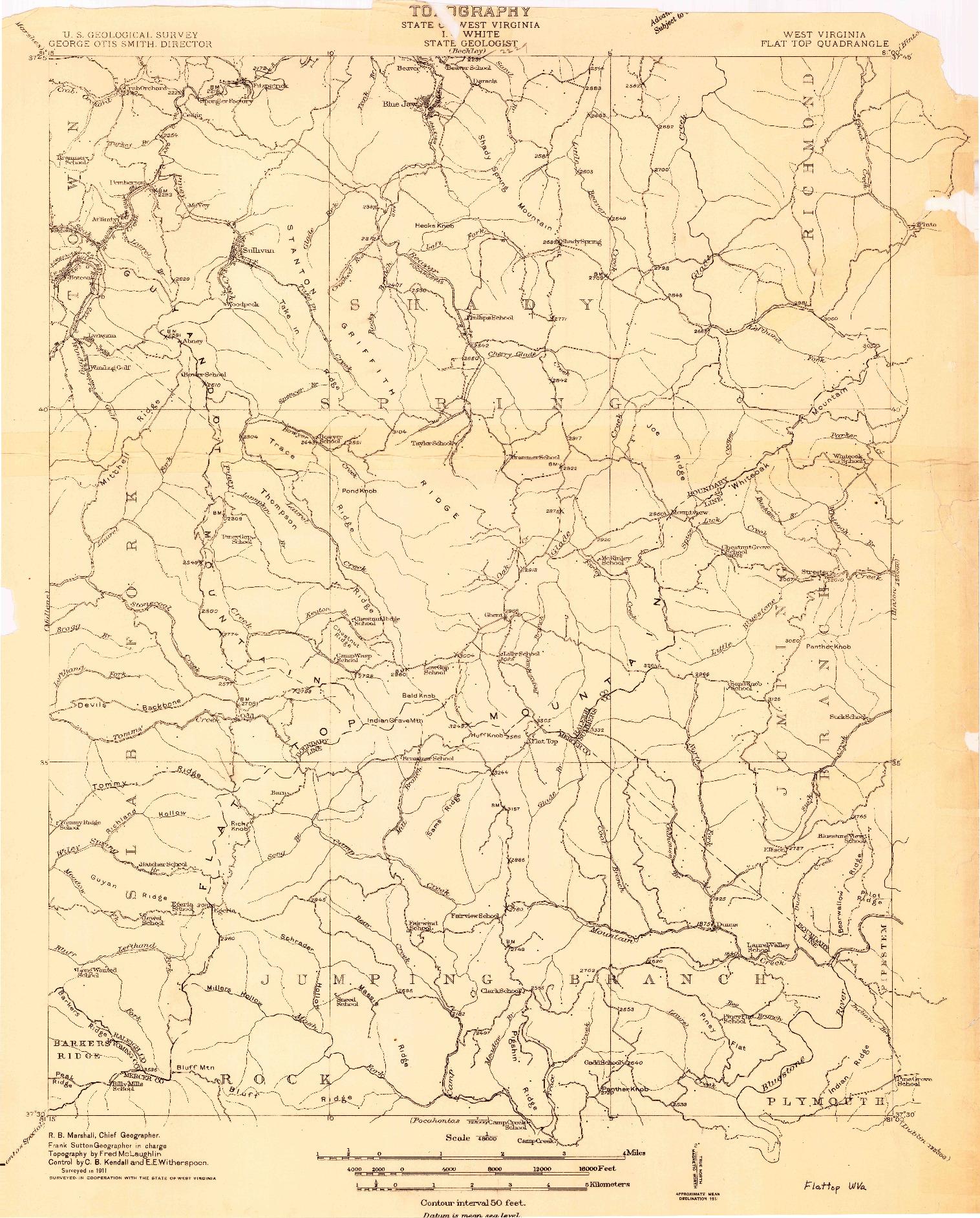 USGS 1:48000-SCALE QUADRANGLE FOR FLATTOP, WV 1911
