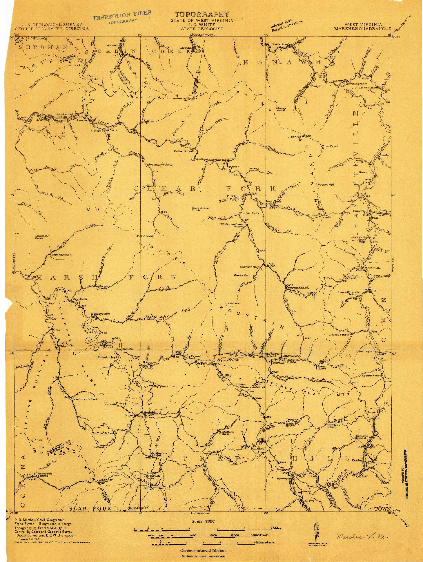 USGS 1:48000-SCALE QUADRANGLE FOR MARSHES, WV 1911