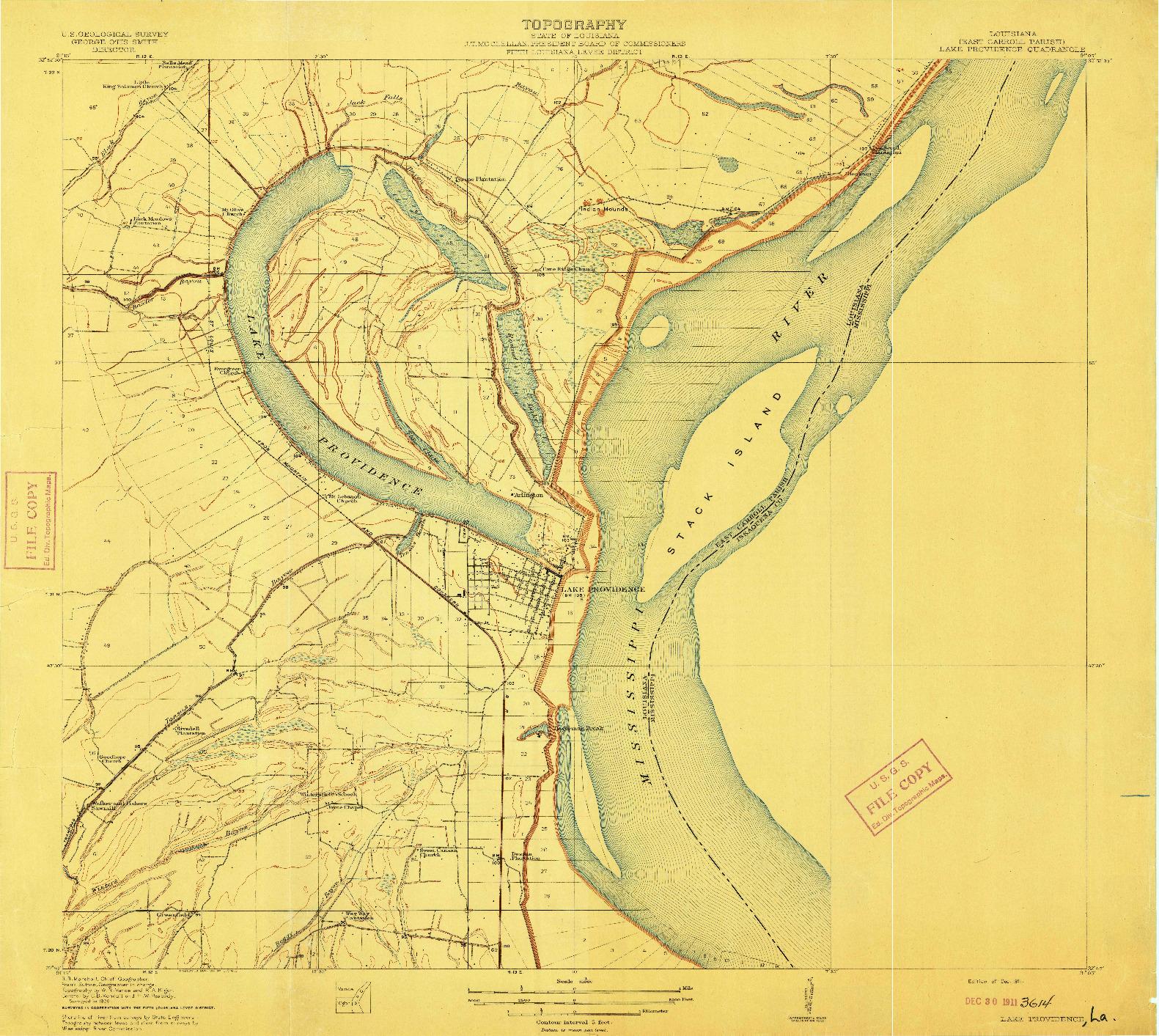 USGS 1:31680-SCALE QUADRANGLE FOR LAKE PROVIDENCE, LA 1911