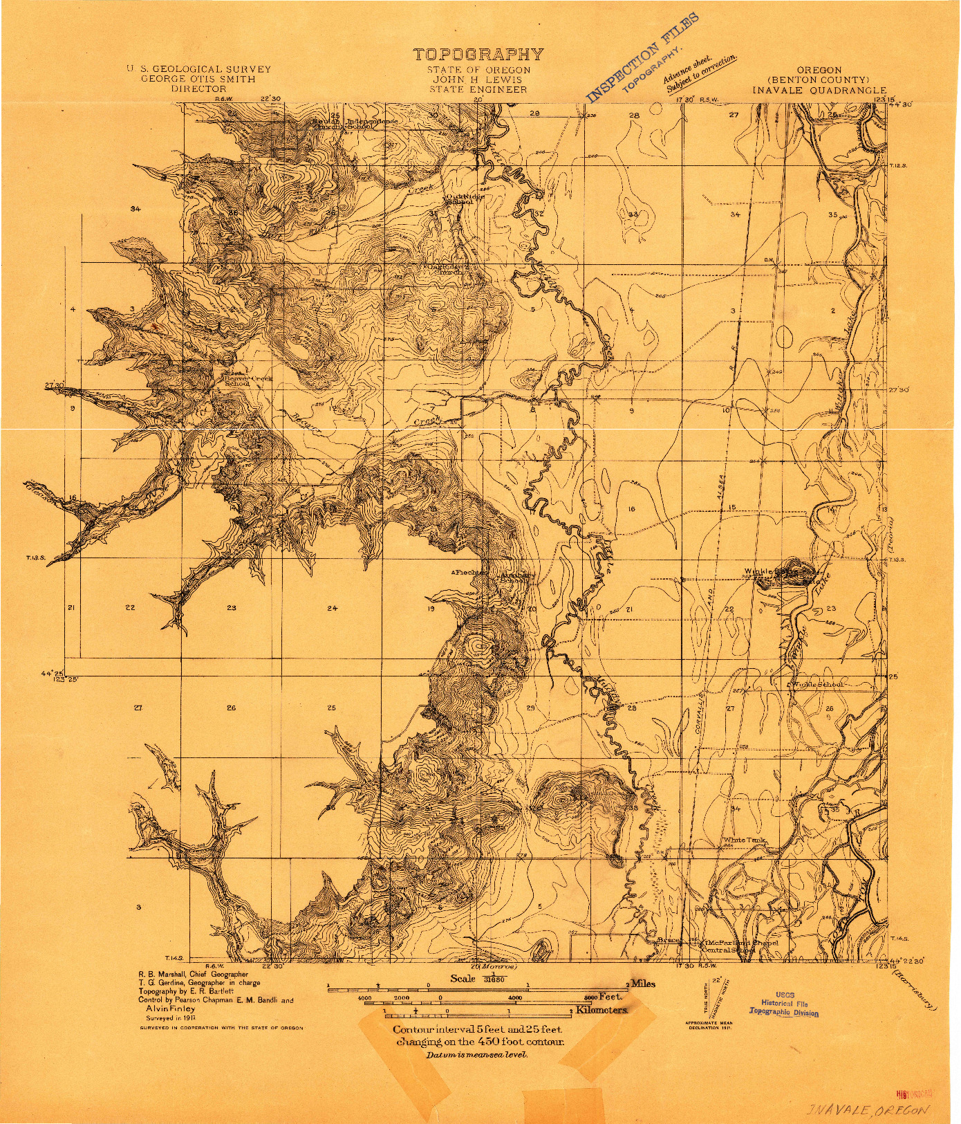 USGS 1:31680-SCALE QUADRANGLE FOR INAVALE, OR 1911