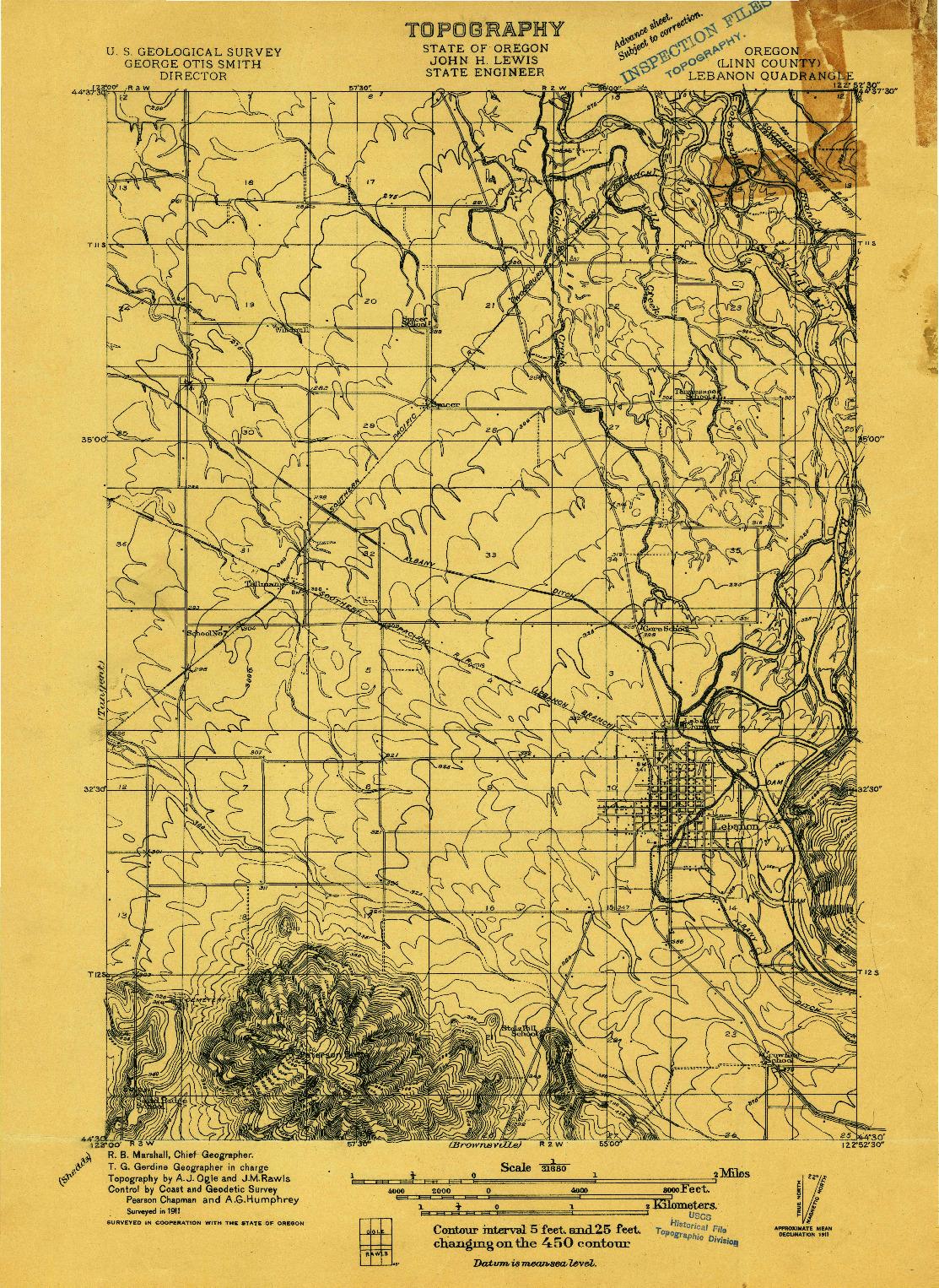 USGS 1:31680-SCALE QUADRANGLE FOR LEBANON, OR 1911