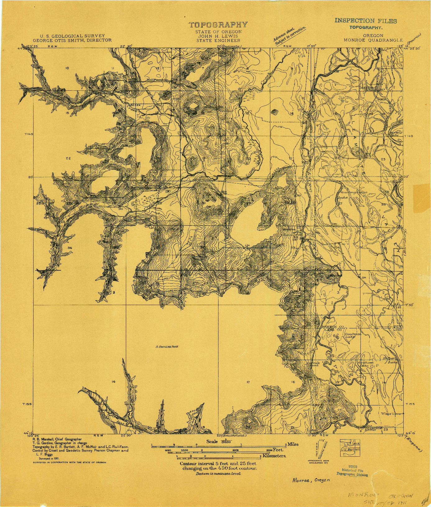 USGS 1:31680-SCALE QUADRANGLE FOR MONROE, OR 1911