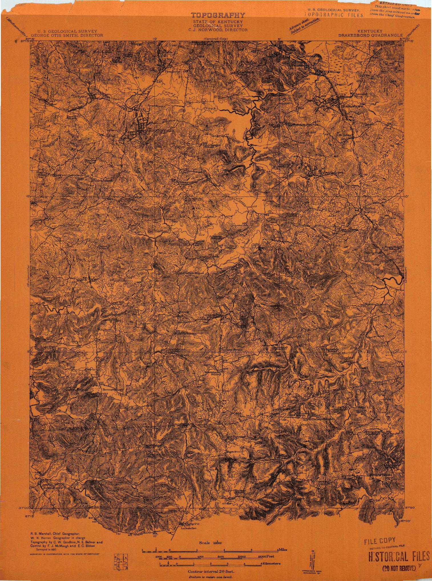 USGS 1:48000-SCALE QUADRANGLE FOR DRAKESBORO, KY 1911