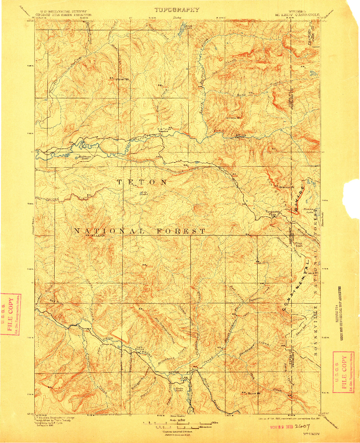 USGS 1:125000-SCALE QUADRANGLE FOR MT LEIDY, WY 1902