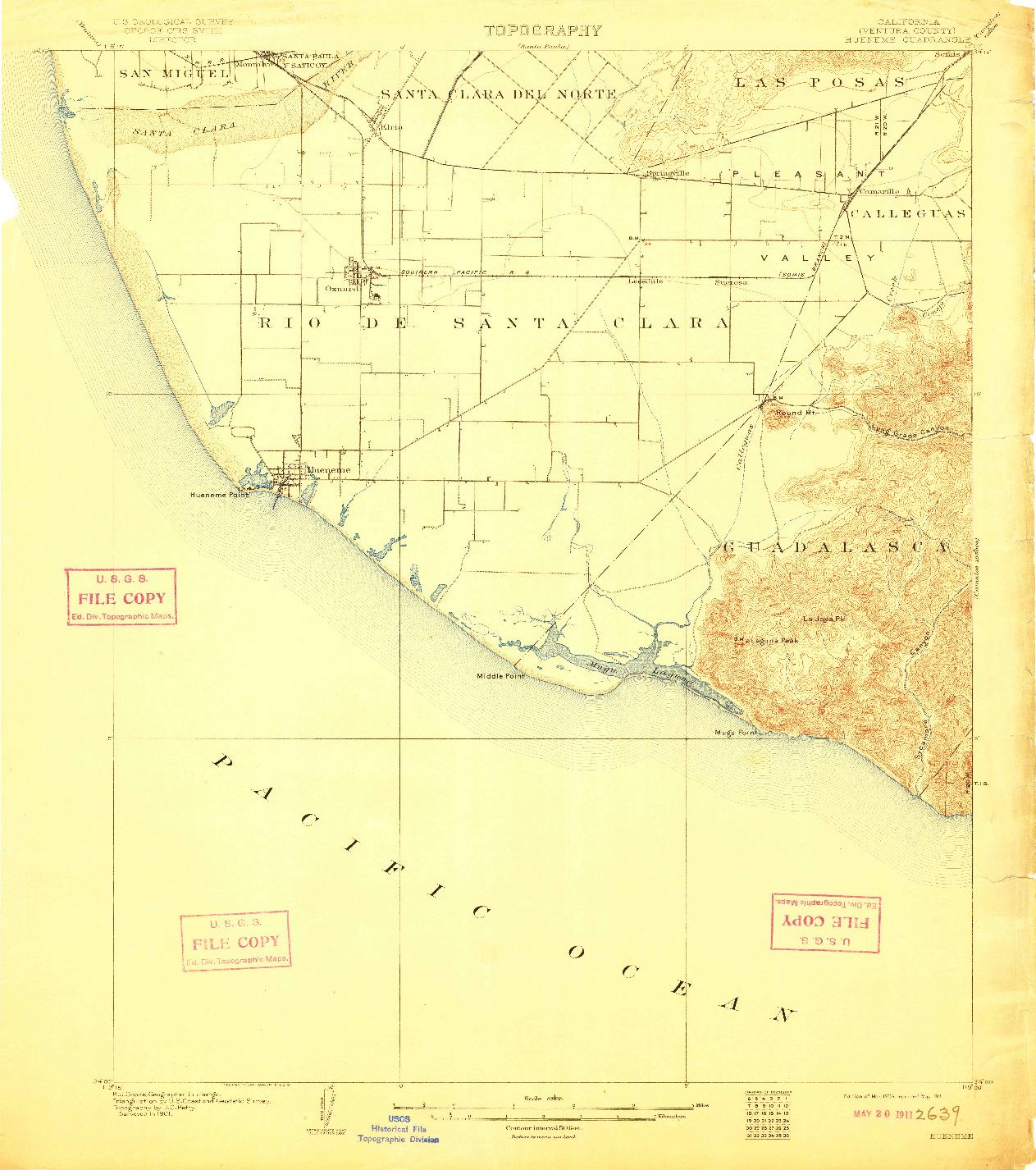 USGS 1:62500-SCALE QUADRANGLE FOR HUENEME, CA 1904