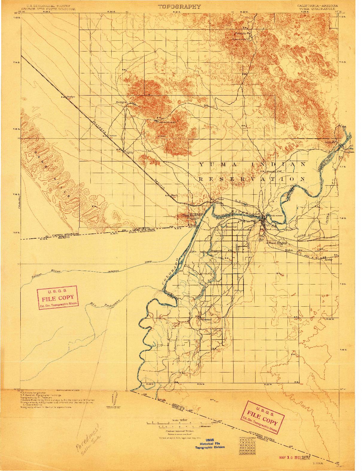 USGS 1:125000-SCALE QUADRANGLE FOR YUMA, CA 1905