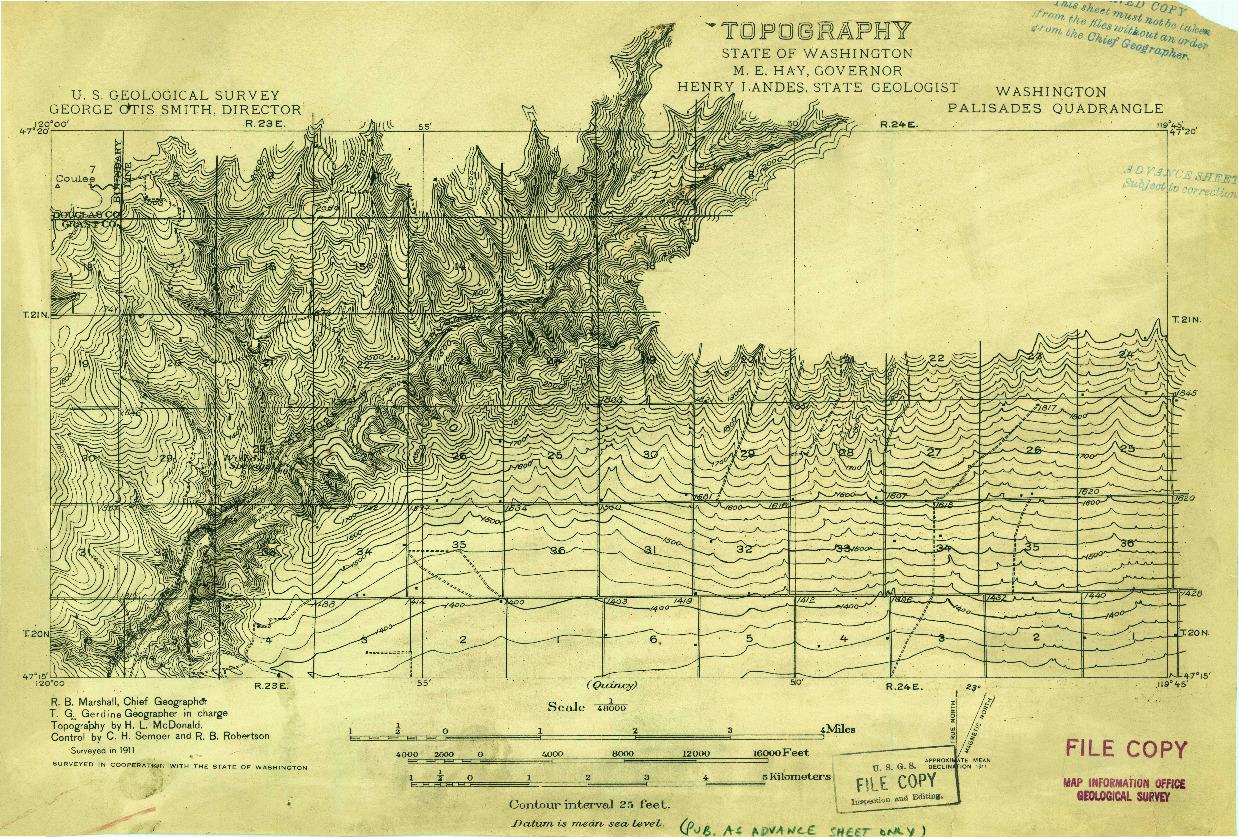 USGS 1:48000-SCALE QUADRANGLE FOR PALISADES, WA 1911