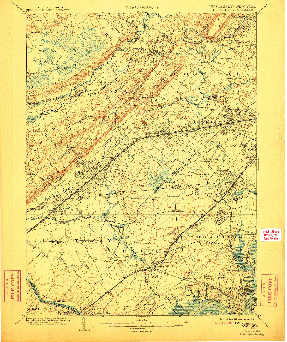 USGS 1:62500-SCALE QUADRANGLE FOR PLAINFIELD, NJ 1905
