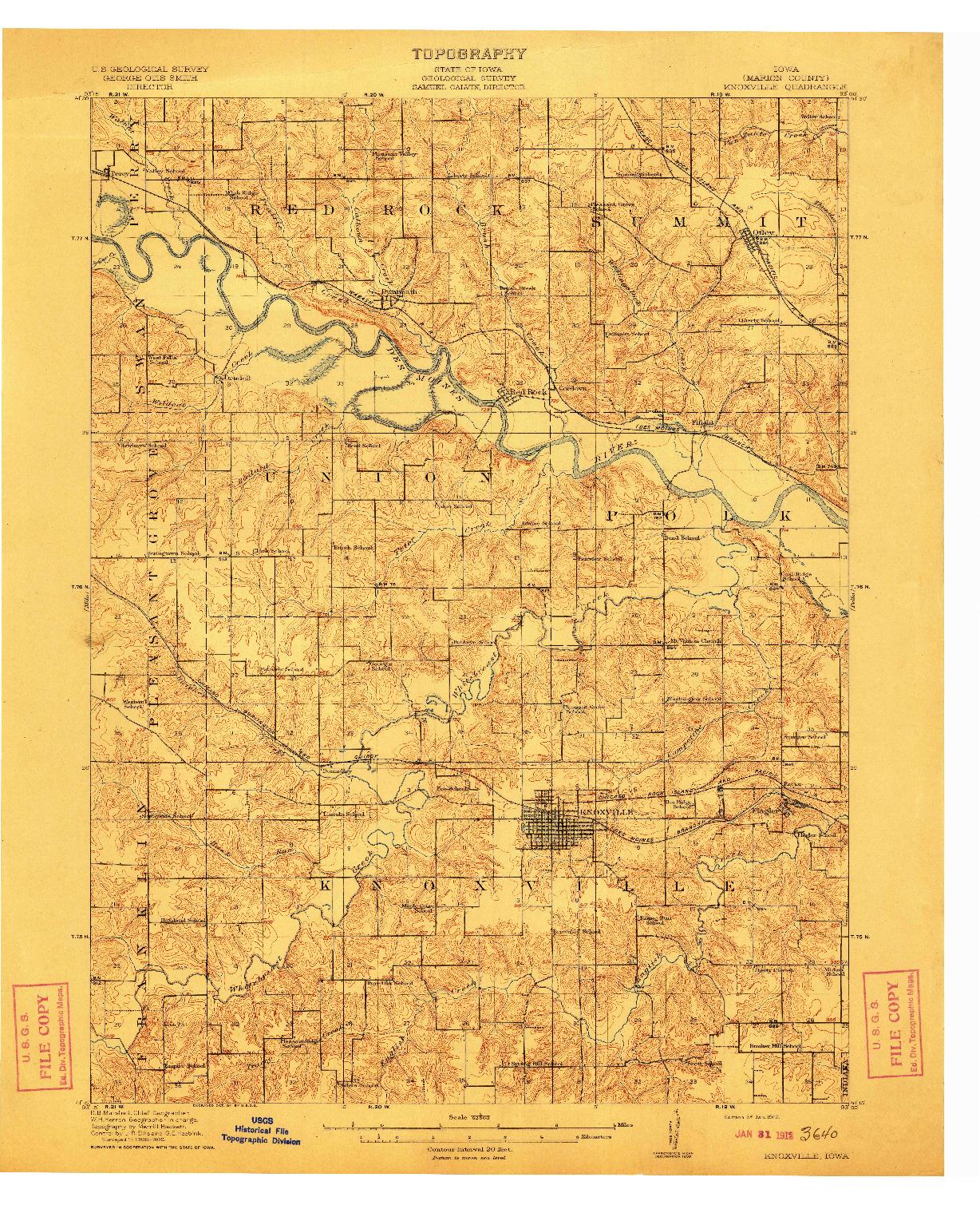 USGS 1:62500-SCALE QUADRANGLE FOR KNOXVILLE, IA 1912