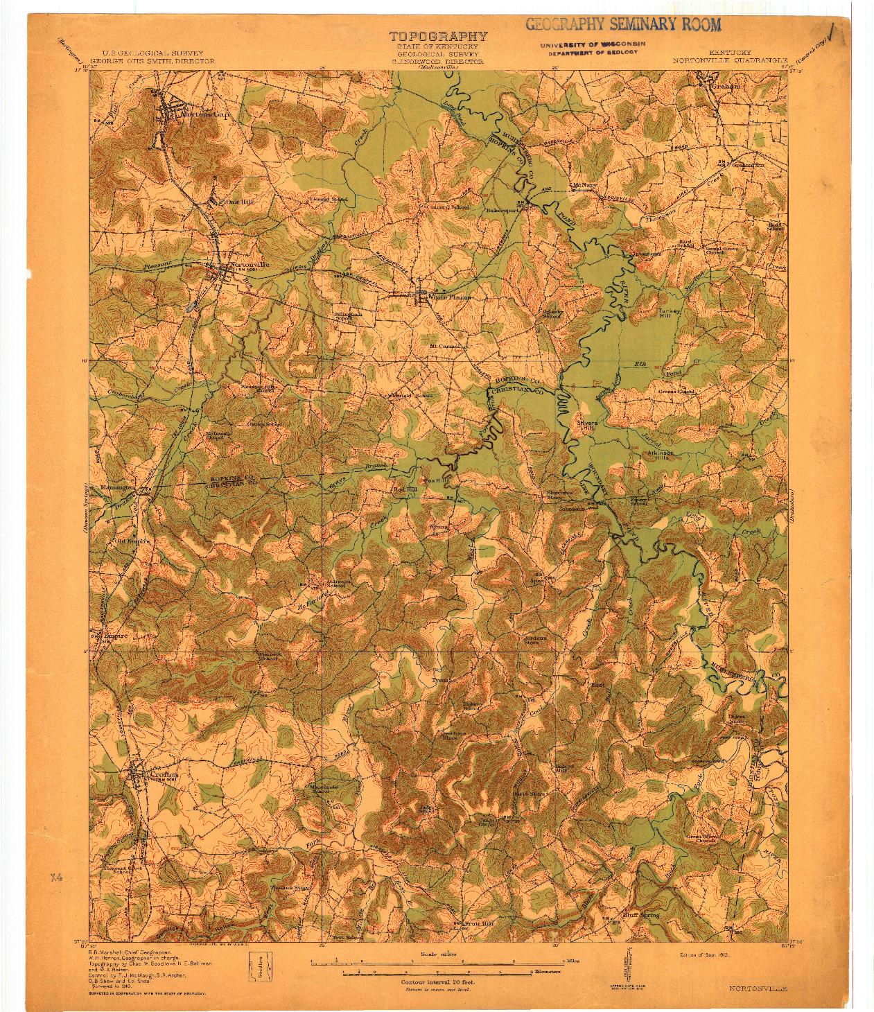 USGS 1:62500-SCALE QUADRANGLE FOR NORTONVILLE, KY 1912