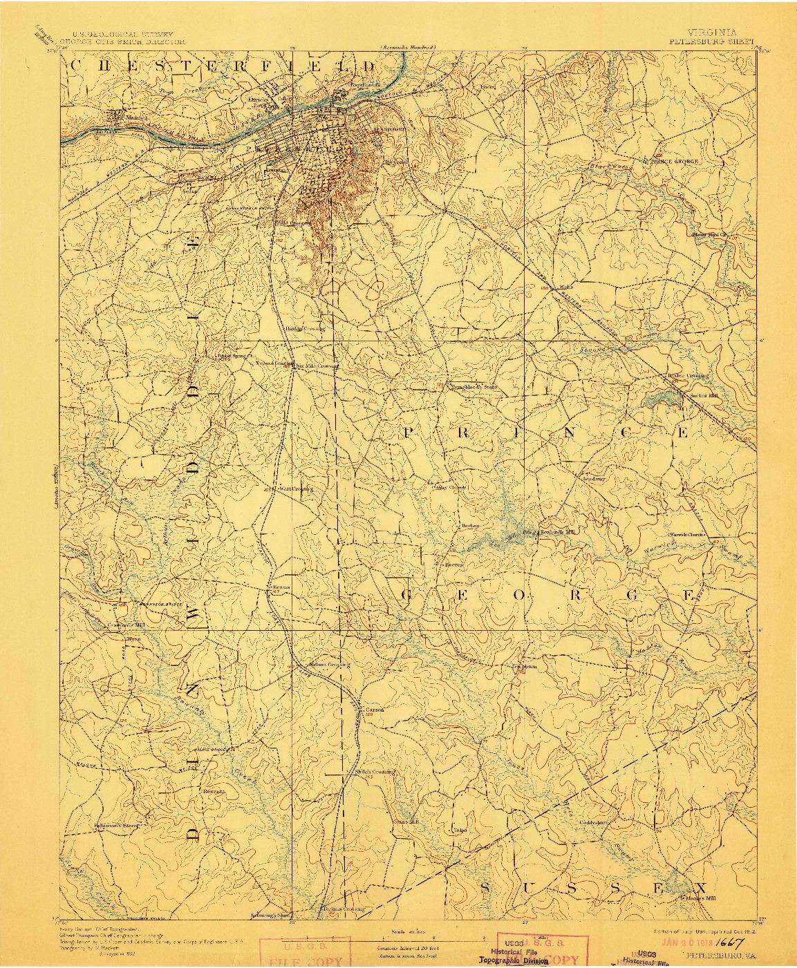 USGS 1:62500-SCALE QUADRANGLE FOR PETERSBURG, VA 1894