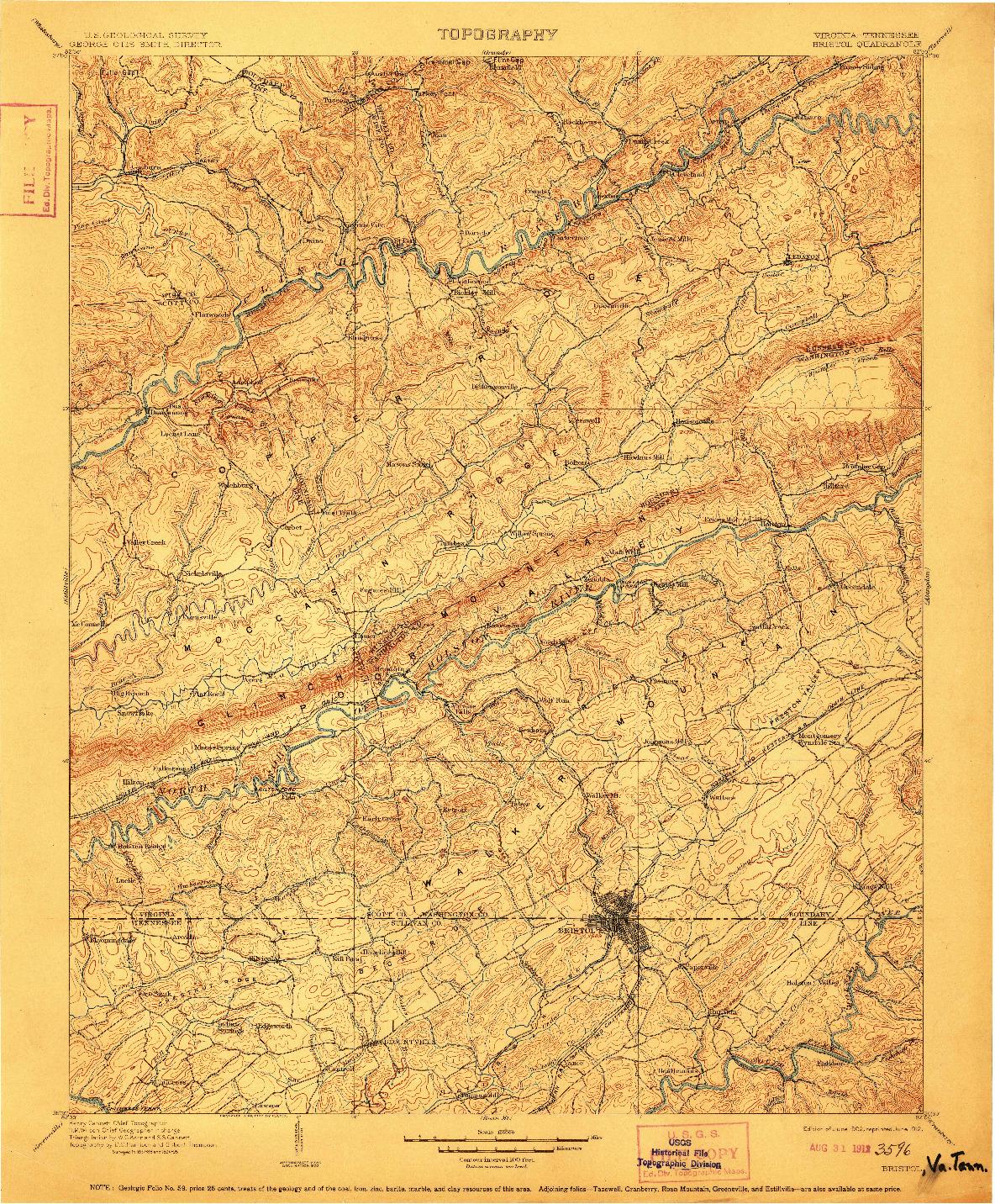 USGS 1:125000-SCALE QUADRANGLE FOR BRISTOL, VA 1902