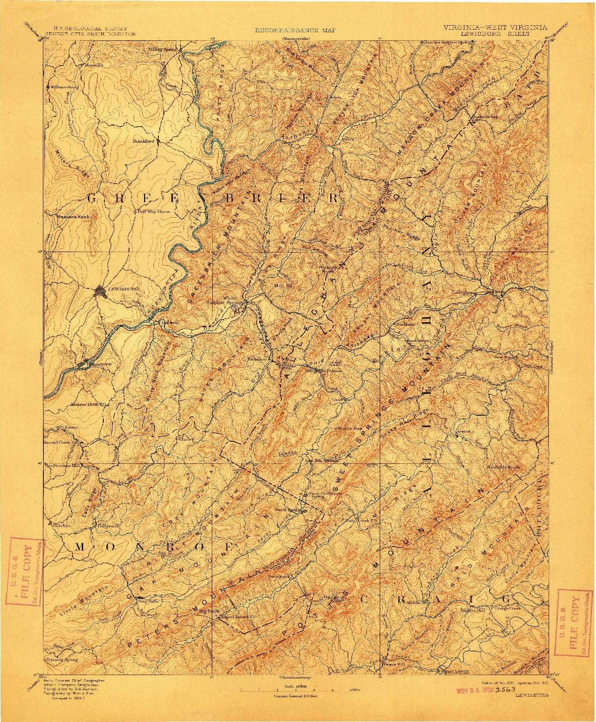 USGS 1:125000-SCALE QUADRANGLE FOR LEWISBURG, VA 1891