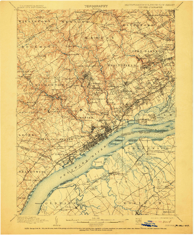 USGS 1:62500-SCALE QUADRANGLE FOR CHESTER, PA 1898