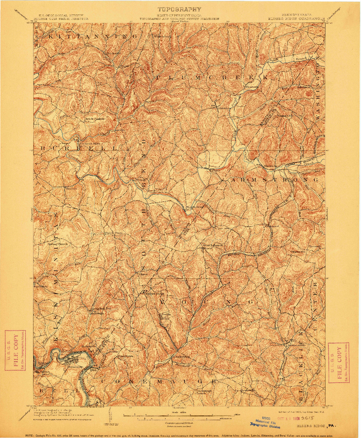 USGS 1:62500-SCALE QUADRANGLE FOR ELDERS RIDGE, PA 1904
