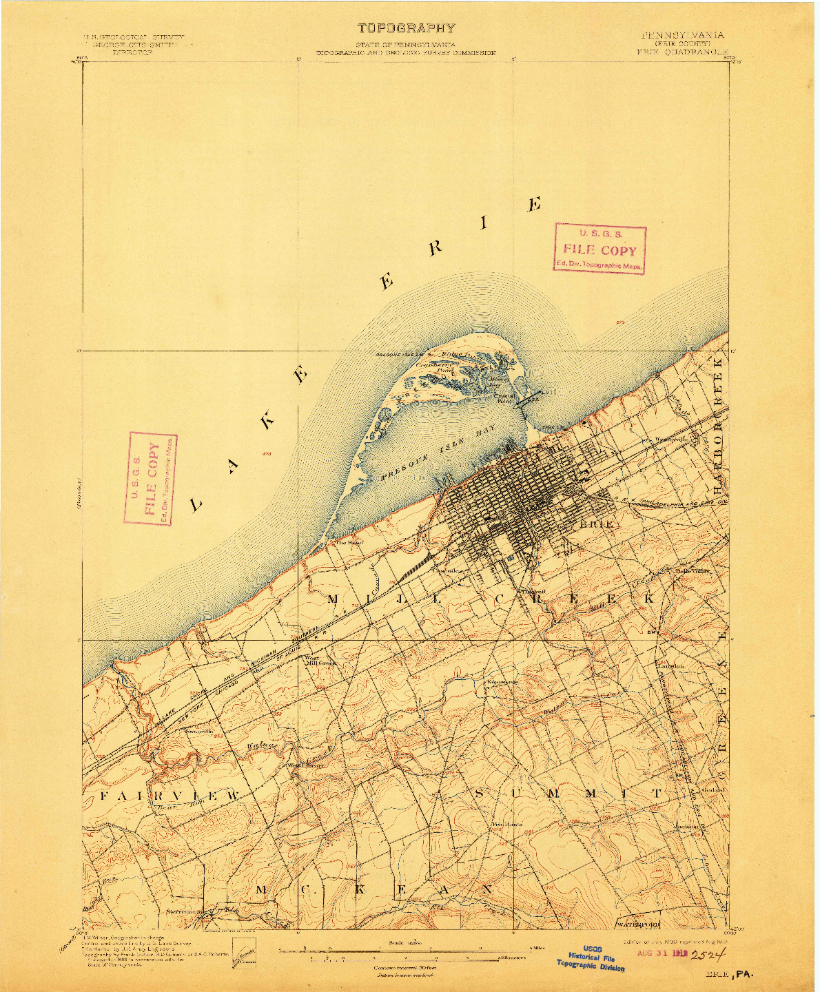 USGS 1:62500-SCALE QUADRANGLE FOR ERIE, PA 1900