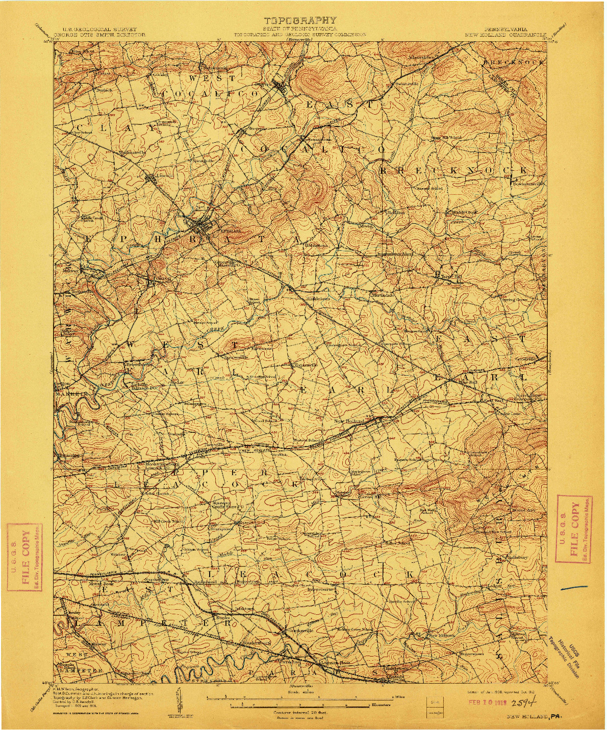 USGS 1:62500-SCALE QUADRANGLE FOR NEW HOLLAND, PA 1908