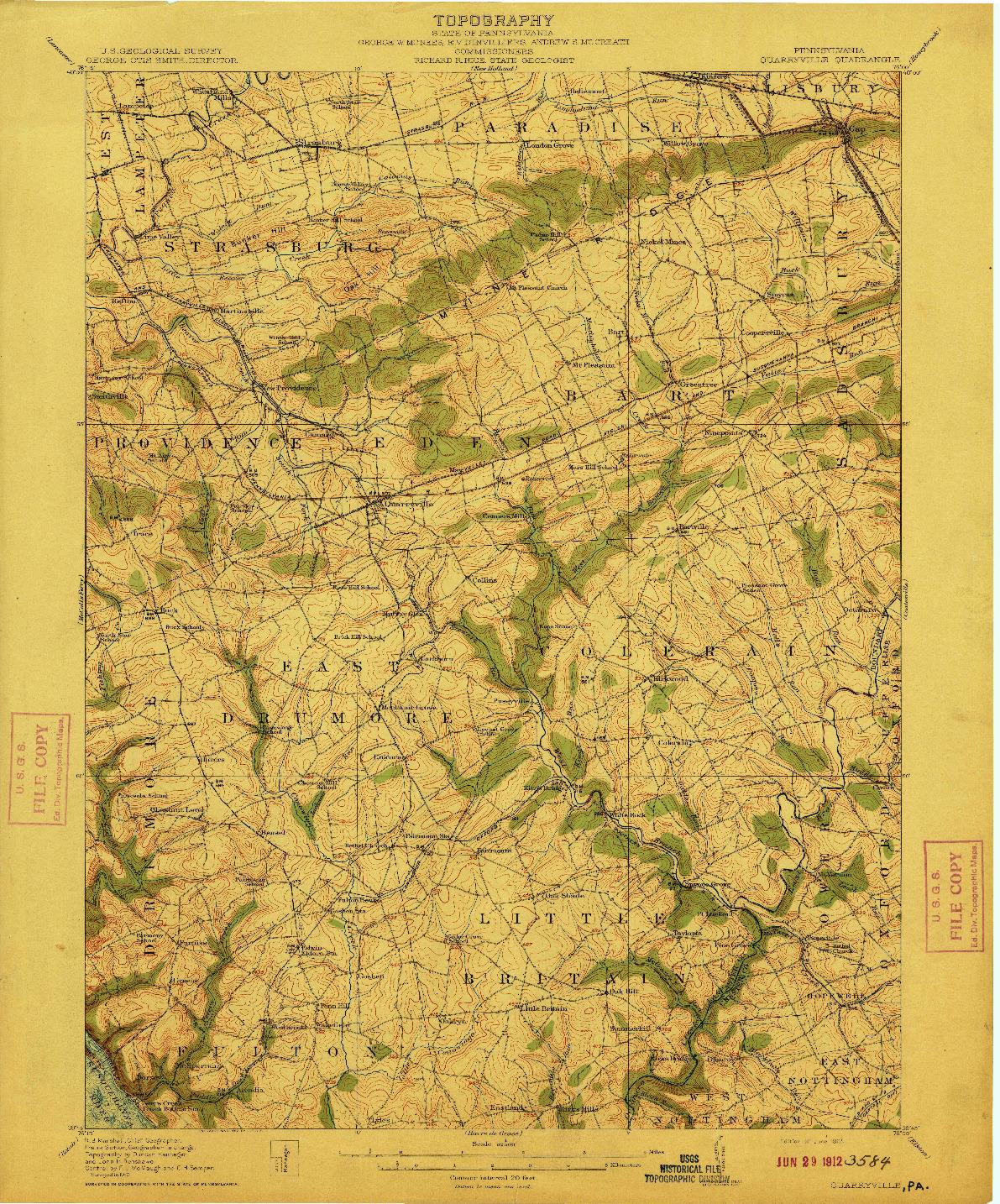 USGS 1:62500-SCALE QUADRANGLE FOR QUARRYVILLE, PA 1912
