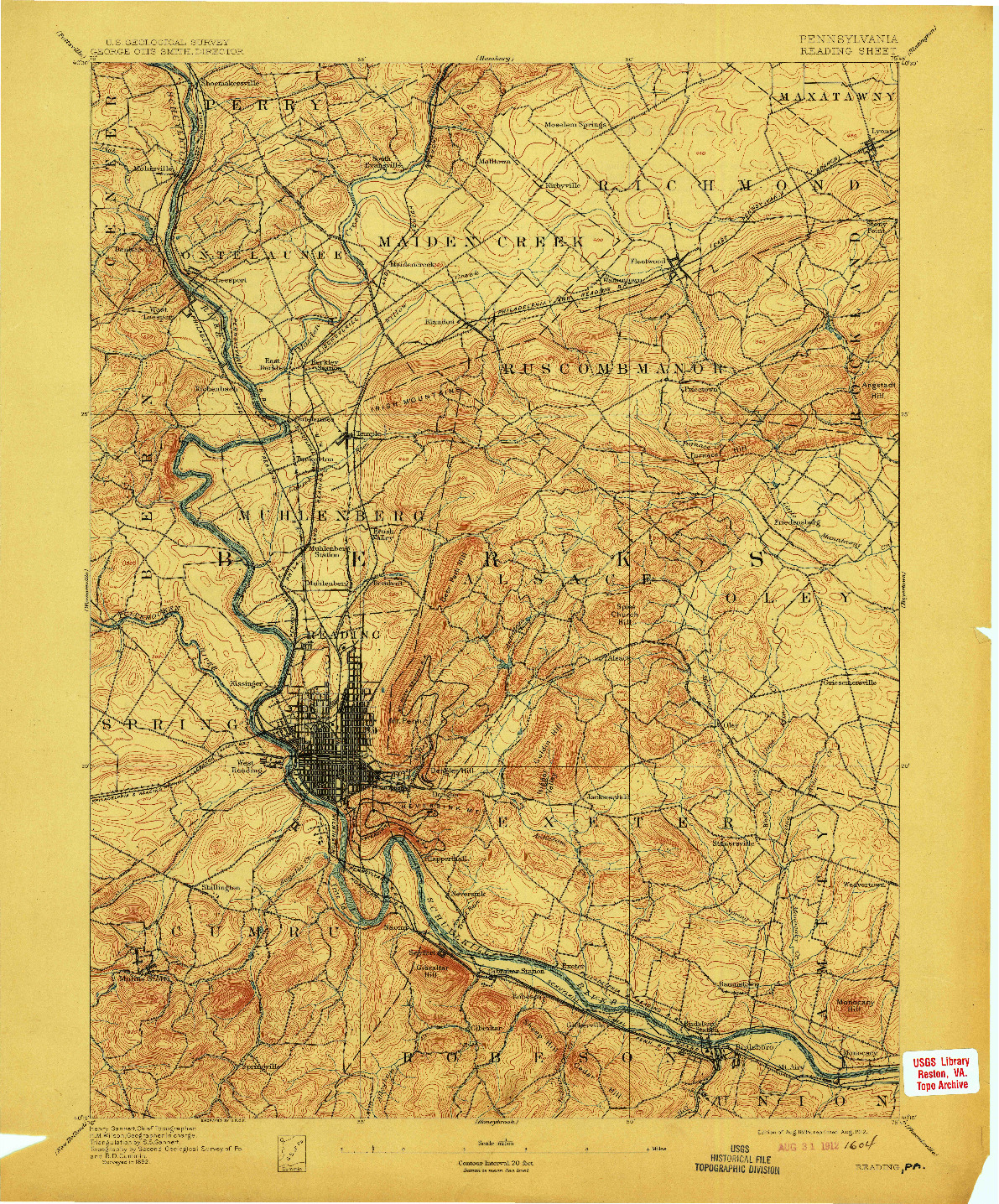 USGS 1:62500-SCALE QUADRANGLE FOR READING, PA 1894