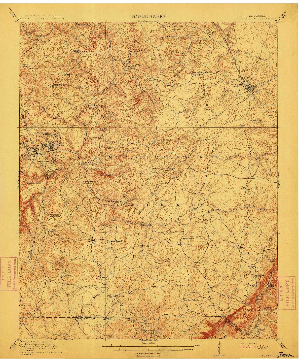 USGS 1:62500-SCALE QUADRANGLE FOR CROSSVILLE, TN 1912