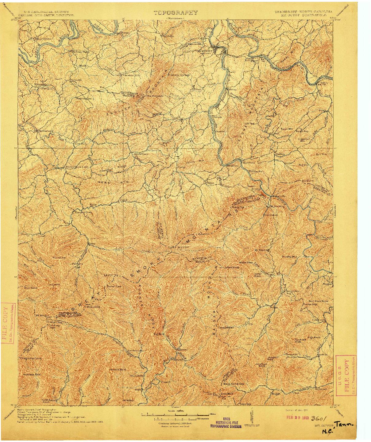 USGS 1:125000-SCALE QUADRANGLE FOR MT GUYOT, TN 1912