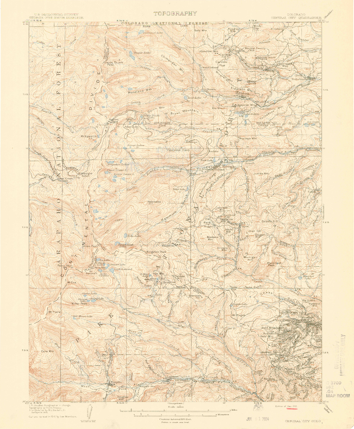 USGS 1:62500-SCALE QUADRANGLE FOR CENTRAL CITY, CO 1912