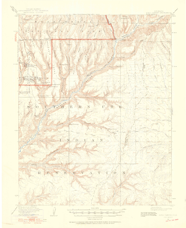 USGS 1:62500-SCALE QUADRANGLE FOR SODA CANYON, CO 1912