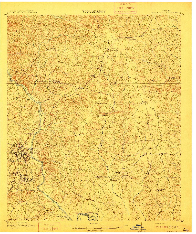USGS 1:62500-SCALE QUADRANGLE FOR MILLEDGEVILLE, GA 1912