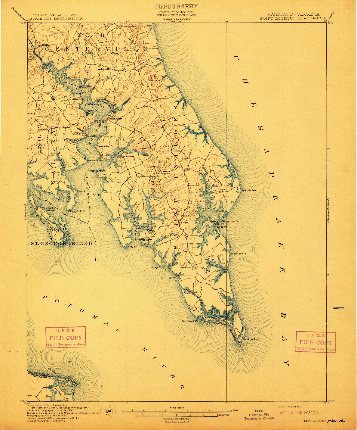 USGS 1:62500-SCALE QUADRANGLE FOR POINT LOOKOUT, MD 1912